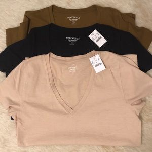 NEW WTAGS❗️ *3* LG JCrew V-Neck Featherweight Tee